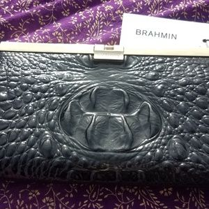NWT Brahmin Croc Embossed Leather Clutch
